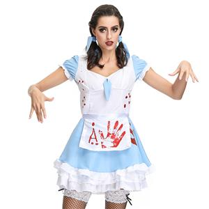Horrible Bloody French Maid Mini Dress Blood Print Adult Zombie Halloween Cosplay Costume N19127
