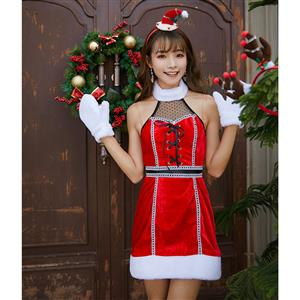 3pcs Sexy Red Girl Strapless Halter Lace-up Bodice Mini Dress Christmas Costume XT19997