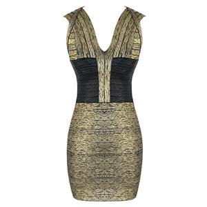 Sleeveless Dress, Deep V Neck Dress, Sexy Bodycon Dress, Bodycon Bandage Dress, Sexy Party Dresses for Women, Gold Dress, Package Hip Dress, Back Zipper Dress, #N15647