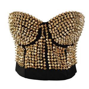 Sexy Golden Clubwear Tops, Women