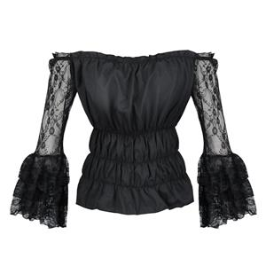Sexy Gothic Off-shoulder Sheer Lace Layered Flared Sleeve Ruffled Blouse Elastic Top N20023