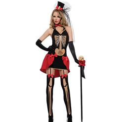 Gothic Skeleton Role Play Costume, Adult  Halloween Costume, Sexy Holloween Costume, Halloween Skeleton Dress Costume, Club Adult Cosplay Costume, #N18195