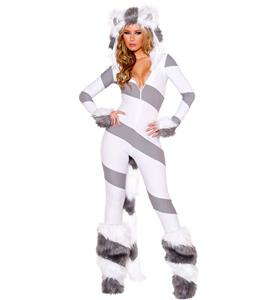 Sexy Animal Costume,  Hot Sale Gray and White Cat Costume, Kitty Cat Hooded Catsuit Costume, Halloween Costume, #N10882