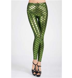 Sexy Leggings, Fashion Low Waist Legging Pants, Cheap Fish Scale Pattern Leggings, Ladies Green Leggings, #L10265