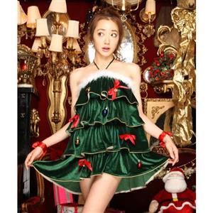 e726e6991e5f Cutie Green Sleeveless Christmas Dress Costume XT10936