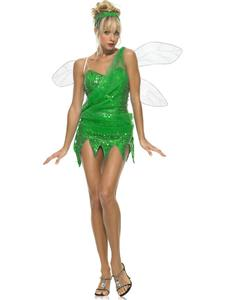 Sexy Green Pixie Costume, Sequinned Sprite Fancy Dress Costume, Green Pixie Costume, #N4731