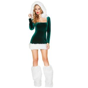 X-mas Costume, Elf Helper Costume, Hot Sale Green Velvet Dress Costume, Deluxe Elf Holiday Costume, Christmas Costume Set , Christmas Mini Dress, #XT10920