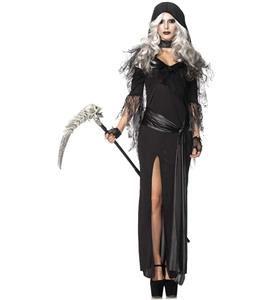 Cheap Halloween Costume, Hot Sale Scary Costume, Black Reaper Costume, Crazy Terrible Long Dress Costume, #N10696
