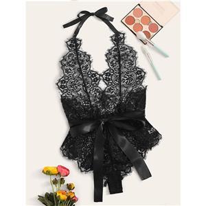 Sleepwear Bodysuit for Women, Sexy Black Frill Lace Lingerie, Cheap Romper Lingerie for Women, Sexy Valentines Lingerie, Backless Bodysuit Lingerie, Halter Bodysuit Lace Black, #N20719