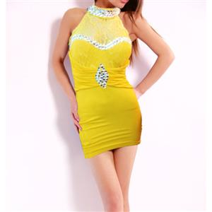 High Neck Beaded Dress, High-Neck Lace Dress, High Neck Yellow Prom Gowns, #N7600