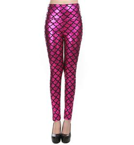 Sexy Leggings, Fashion High Waist Legging Pants, Cheap Fish Scale Pattern Leggings, Ladies Hot-Pink Leggings, #L10262