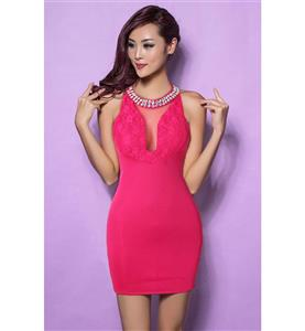 Hot-Pink Mini Dress for Women, Sexy Bodycon Dress for Cheap, Cocktail Party Dresses, Short Club Wear Dress, Casual Dress, #N11172
