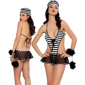 Sexy Backless Women Prisoner Costume, Striped Gangster Costume, Sexy Prison Prisoner Costumes, #N8461