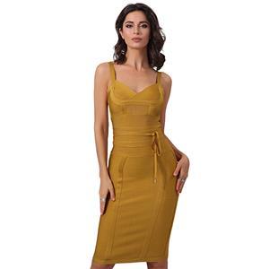 Sexy Dress for Women, Fashion Midi Dresses, Bodycon Party Dress, V Neck Bodycon Dress, Straps Sweetheart Neck Dresses, Khaki Bodycon Bandage Dress, #N15244