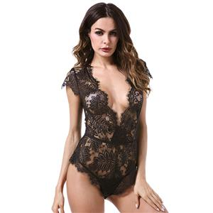 Sexy Clubwear Stripper Striptease Bodysuit for Women, Sexy See-through Floral Lace Lingerie, Cheap Romper Lingerie for Women, Sexy Valentines Lingerie, Sexy Stretchy Bodysuit Lingerie, Sexy Sheer Lace Teddies Lingerie, #N18840