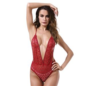 Sexy Clubwear Stripper Striptease Bodysuit for Women, Sexy See-through Floral Lace Lingerie, Cheap Romper Lingerie for Women, Sexy Valentines Lingerie, Sexy Stretchy Bodysuit Lingerie, Sexy Sheer Lace Teddies Lingerie, #N18842