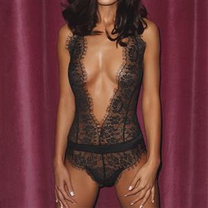 Flirty Bodysuit, Sexy Clubwear Stripper Striptease Bodysuit for Women, Sexy See-through Floral Lace Lingerie, Cheap Romper Lingerie for Women, Sexy Valentines Lingerie, Sexy Stretchy Bodysuit Lingerie, Sexy Sheer Lace Teddies Lingerie, #N19295