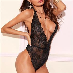 Flirty Bodysuit, Sexy Clubwear Stripper Striptease Bodysuit for Women, Sexy See-through Floral Lace Lingerie, Cheap Romper Lingerie for Women, Sexy Valentines Lingerie, Sexy Stretchy Bodysuit Lingerie, Sexy Sheer Lace Teddies Lingerie, #N20821