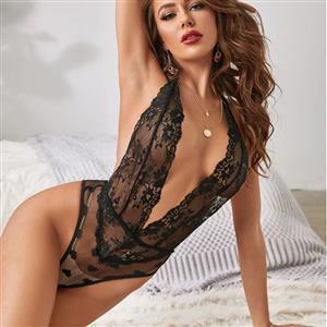 Flirty Bodysuit, Sexy Clubwear Stripper Striptease Bodysuit for Women, Sexy See-through Floral Lace Lingerie, Cheap Romper Lingerie for Women, Sexy Valentines Lingerie, Sexy Stretchy Bodysuit Lingerie, Sexy Sheer Lace Teddies Lingerie, #N21218