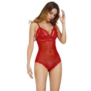 Sexy Red Floral Lace See-through Spaghetti Straps High Waist Bodysuit Teddy Lingerie N18336