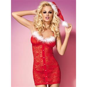 Sexy Red Lace Chemise Christmas Lingerie XT12386