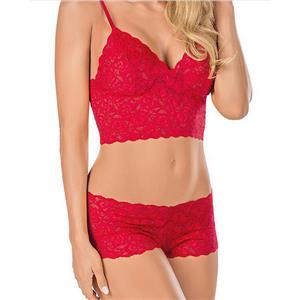 Floral Lace Lingerie Set, Sexy Red Lingerie Set, Cheap Fashion Lingerie Set, Valentine