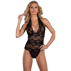 Sexy Clubwear Stripper Striptease Bodysuit for Women, Sexy See-through Floral Lace Lingerie, Cheap Romper Lingerie for Women, Sexy Valentines Lingerie, Sexy Stretchy Bodysuit Lingerie, Sexy Hanging Neck Strap Teddies Lingerie,#N19181