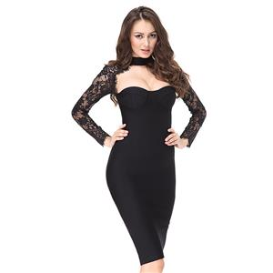 Lace Long Sleeve Dress, Low Cup Bodycon Dress, High Neck Dress for Women, Black Lace Bodycon Dress, Sexy Party Dress for Women, Back Zipper Bodycon Dress, #N15178