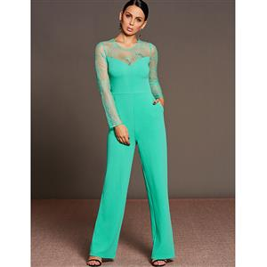 Lace Jumpsuit for Women, Long Sleeve Jumpsuit, Back Zipper Jumpsuit, Solid Color Jumpsuit for Women, Sexy Jumpsuit, #N15291