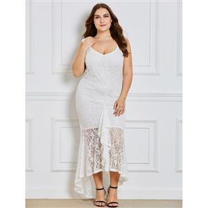 Sexy Lace Dress, Plus Size Dress for Women, Asymmetric Dress, V Neck Dress for Women, Sleeveless Dress, Party Dress for Women, Maxi Dress for Women Plus Size, #N15349