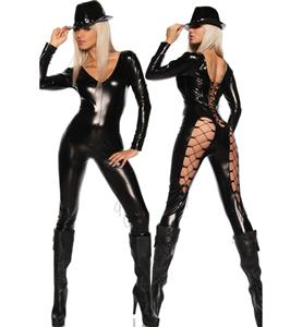 Black Long Sleeve PVC Leather Catsuit, Wetlook Open Back V-neckline Jumpsuit, Black Lacing Up Back Bodysuit, #N9102