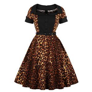Sexy Leopard Print Turn Down Collar Short Sleeves High Waist Midi Swing Dress with Belt N18341