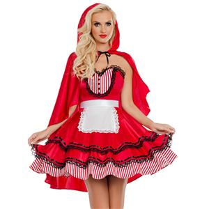 Little Red Costume, Sexy Red Riding Hood Costume, Little Red Riding Hood Costume, Sexy Adult Halloween Costume, #N18684
