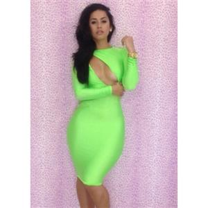 Long Sleeve Cut Out Dress, Cut Out BodyCon Dress, BodyCon Dress, Sexy Backless Bodycon Mini Dress, Sexy Clubwear Bodycon Dress, #N6450