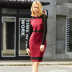 Long Sleeve Dress, Round Neck Dress, Red Dresses for Women, Mesh Patchwork Dress, See-Through Dress, Back Zipper Dress, Bodycon Midi Dress, Wine Red Bodycon Dress, #N15657