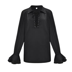 Sexy Black Lapel Lace Up Shirt, Lace Up Blouse, Long Sleeve Ruffle Cuff Blouse Tops,Men