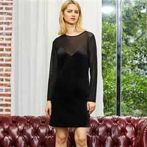 Long Sleeve Dress, Round Neck Dress, Mesh Panel Dress, Patchwork Dress for Women, Mesh See-Through Dress, Mini Dress, Sexy Dress for Women, #N15306