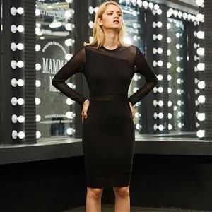 Long Sleeve Dress, Round Neck Dress, Black Dresses for Women, Mesh Patchwork Dress, See-Through Dress, Back Zipper Dress, Bodycon Midi Dress, Black Bodycon Dress, #N15648