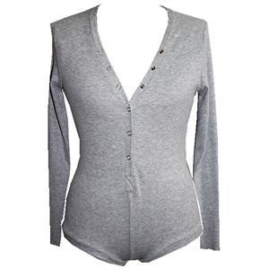 Long Sleeve Bodysuit, V Neck Bodysuit for Women,Cotton Bodysuit, Sexy Bodysuit for Women, Gray Bodysuit, #N15322
