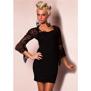 Lace Top Mini Dress, Lace Top With Sleeves Mini Dress, Sleeves Mini Dress, #M1658