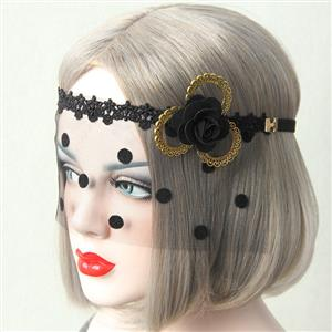 Halloween Masks, Costume Ball Masks, Black Lace Mask, Masquerade Party Mask, Punk Black Mask, Cosplay Face Veil, #MS13018