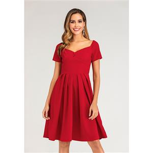 Sexy Solid Colour Sweetheart Neckline Backless Short Sleeve Slim Waist Midi A-line Dress N20126