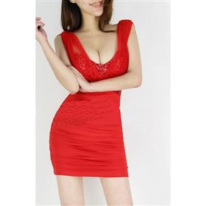 Mini Dress, Little Red Dress, Sexy Red Mini Dress, #N5144