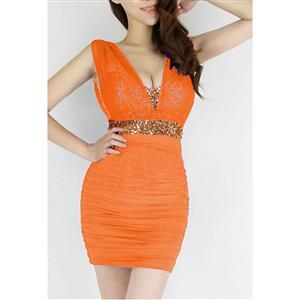 Mini Dress, Little Orange Dress, Sexy Orange Mini Dress, #N6818