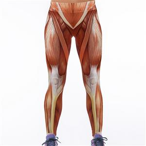 Sexy Muscle Printing Jeans, Muscle Tattoo printed Leggings, Universe Galaxy Printing Jeggings, #L12727