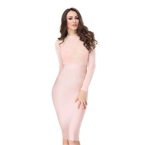 Sexy Dress for Women, Bodycon Party Dress, Bodycon Bandage Dress, Long Sleeve Bodycon Dresses, Pink Bodycon Bandage Dress, Pink Mesh Dress, #N15229