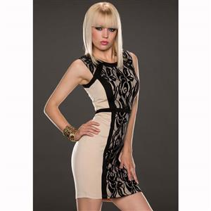 Nude Sleeveless Lace Round Neck Dress, Zipper Split Joint Lace Dress, Lady Sexy Slim Package Hip Dress, Night Club Party Dress, #N9317