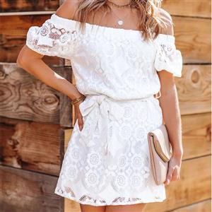Fashion White Embroidered Dress, Retro Mini Dresses for Women 1960, Vintage Mini Dresses 1950