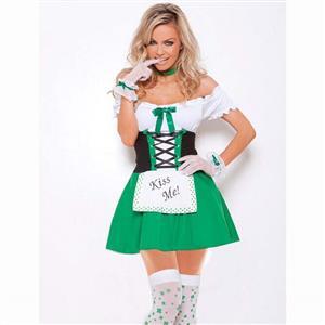 Sexy Oktoberfest Beer Girl Costume, St Patricks Day Costume, Green White Kiss Me Costume, Fancy Ball Costume, #N9841
