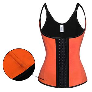 Steel Bone Vest Corset, Latex Underbust Corset, Orange Underbust Corset, Women